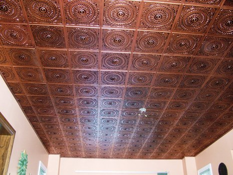 Installing tin ceiling panels