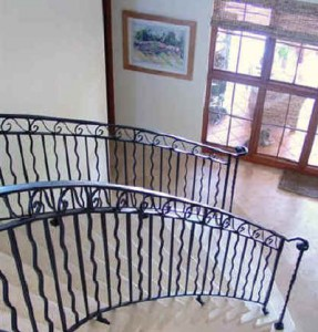 Stairs with iron railings