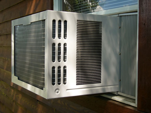 An air conditioner (often referred to as AC) is a home appliance, system, or mechanism designed to dehumidify and extract heat from an area. The cooling is done using