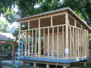 Building a slanted shed roof