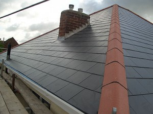 Cutting slate roof tiles