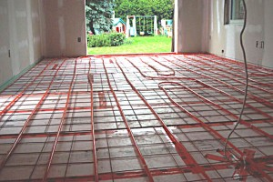 Installing a radiant floor heating system in a concrete floor