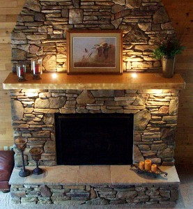 Over open haard mantels