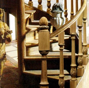 Install wood staircase balusters