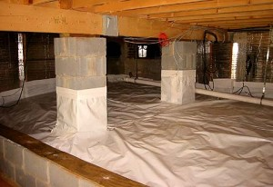 Drying up damp crawl space