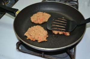 Cooking hamburgers on the stove