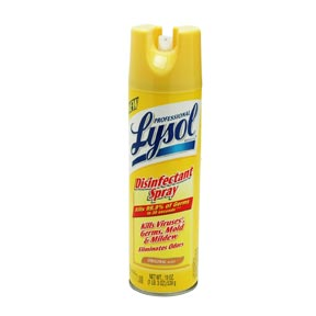 Cleaning, Lysol disinfectant spray - flammable and irritable