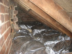 Removing mold and mildew from tight spaces