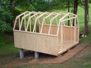 Installing barn roof trusses