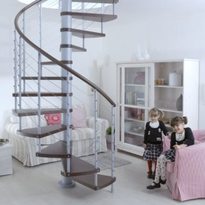 Installing an aluminum spiral staircase in a small house