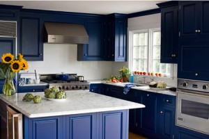 Cobalt blue accents kitchen design