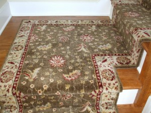 Carpeting a staircase landing