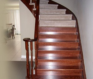 Staining and finishing a wood staircase