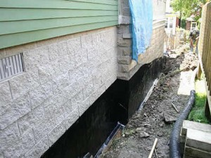 Basement waterproofing on the exterior